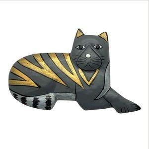 Cat Brooch Pin Handpainted on Wood Gray Gold Black